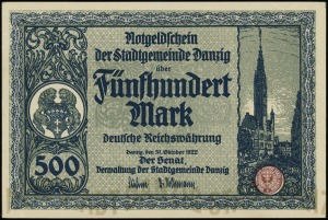 Der Senat der Stadtgemeinde Danzig, 500 marek 31.10.192...