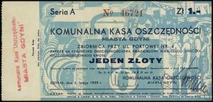 Gdynia, Komunalna Kasa Oszczędności, bon na 1 złoty 1.0...