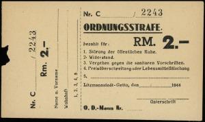 blankiet mandatu karnego (Ordnungsstrafe) na 2 marki (R...