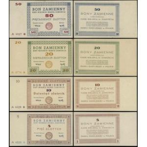 Zamość, Kasa Miejska, zestaw bonów: 5, 10, 20 i 50 złot...