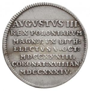 August III, żeton koronacyjny 1734, Aw: Korona i napis ...