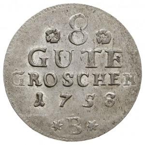 8 gute groschen 1758 B, Bernburg, Aw: Popiersie Wiktora...