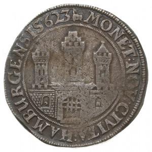 talar 1623, Aw: Brama miejska, MONET NOV CIVITA HAMBURG...