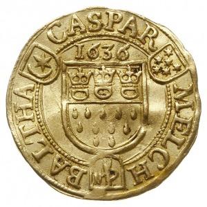 dukat 1636, Aw: Tarcza herbowa miasta, powyżej data 163...