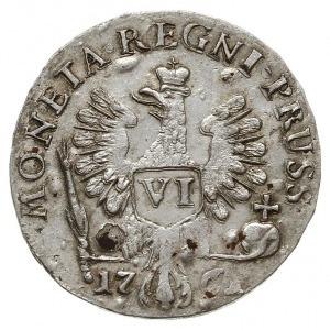 Prusy, szóstak 1761, Królewiec, odmiana z trzema lokami...