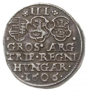 trojak 1606, Aw: Popiersie w prawo, Rw: Tarcze herbowe ...