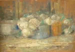 Olga BOZNAŃSKA, Martwa natura z białymi różami w błękitnej wazie, ok. 1918