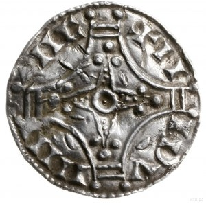 denar, mennica Roskilde; Aw: Cztery łuki tworzące krzyż...