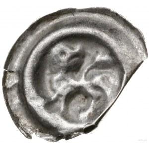 brakteat guziczkowy, koniec XIII w.; Lew kroczący w lew...