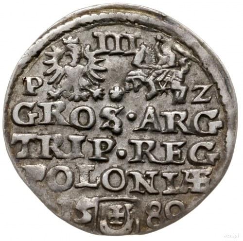 trojak 1580, Olkusz; Aw: Mała głowa króla w prawo i nap...