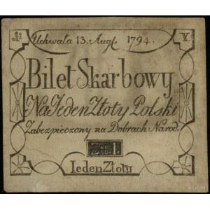 1 złoty polski 13.08.1794, seria Y, całkowicie i wyraźn...