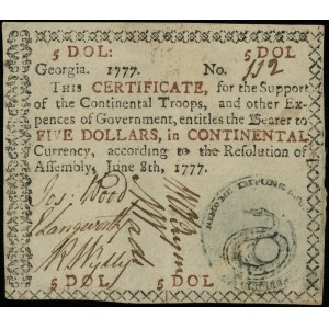 Georgia, 5 dolarów 8.06.1777, for the Support of the Co...