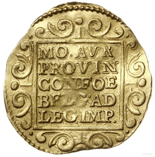 dwudukat 1653, Aw: W obwódce perełkowej rycerz stojący ...