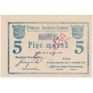 Inowrocław, 5 marek 1919 - EINGELÖST na awersie i rewersie