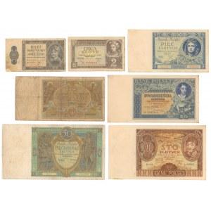 Zestaw banknotów 1 - 100 złotych 1925-1938 (7szt)