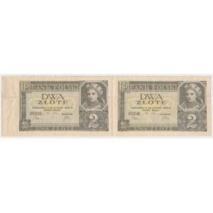 2 złote 1936 - nierozcięte 2 sztuki, bez serii i numeracji