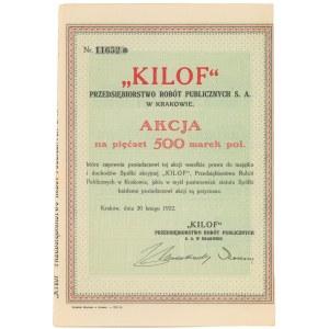 Kilof Przedsiębiorstwo Robót Publicznych w Krakowie, 500 mkp 1922