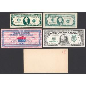 Solidarność - zestaw cegiełek i fantazyjnych banknotów (5szt)