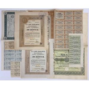 Zestaw: Akcje, Listy zastawne, Obligacje itp. (6szt)