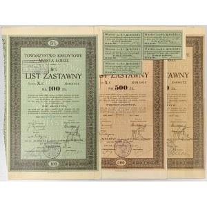 Łódź, TKM, Listy zastawne 1933 (3szt)