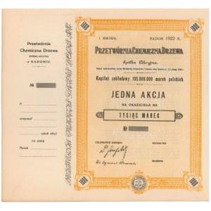 Przetwórnia Chemiczna Drzewa, Em.1, 1.000 mkp 1922 - blankiet