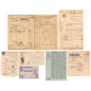 Zestaw dokumentów, rachunków różnych, obcojęzyczne w tym tereny polskie (7szt)