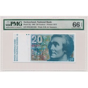 Switzerland, 20 Franken 1992