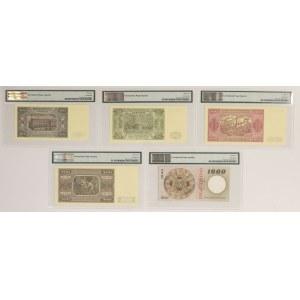 WZORY kolekcjonerskie emisji 1948-65 - PMG 66-64 EPQ (5szt)