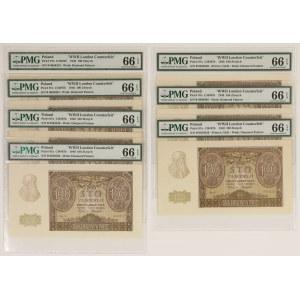 100 złotych 1940 - fałszerstwo ZWZ - PMG 66 EPQ (7szt)