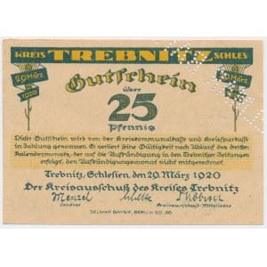 Trebnitz (Trzebnica), 25 pfg 1920 DRUK PRÓBNY perforacja SELMAR BAYER