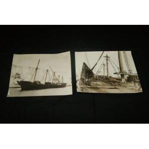 Ensemble de 2 photographies, figurant un bateau allemand (2)