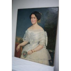 Ecole française du XIX siècle, portrait d'une jeune mariée, huile sur toile. 101 x81 cm. Légers accidents en bas de la toile.
