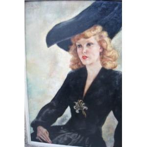 E.LANG, portrait d'une élégante dame au chapeau, huile sur toile encadrée. Signée datée en haut a gauche, 1943. 83x65cm
