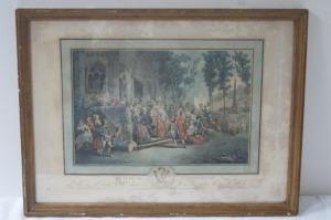 Ecole française XVIIIe Le Prix de l'Agriculture Gravure en couleurs. 37 x 62 cm