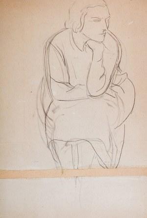 Leopold Gottlieb (1883 Drohobycz - 1934 Paryż) - Siedząca (praca dwustronna)