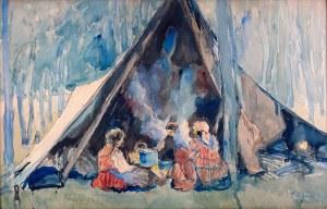 Władysław Jarocki (1879 Podhajczyki/Ukraina - 1965 Kraków) - Biwak cygański, 1923 r.