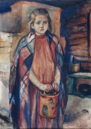 Teodor Grott (1884 Częstochowa - 1972 Kraków) - Dziewczynka w chuście, 1910 r.