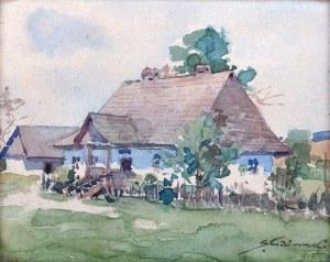 Stanisław Gibiński (1882 Rzeszów – 1971 Katowice) - Pejzaż z dworkiem