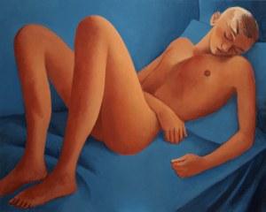 Juliusz Martwy, Orange on blue nude, 2018