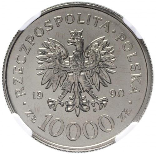 III RP, Próba nikiel 10 000 złotych 1990 Solidarność - NGC MS68