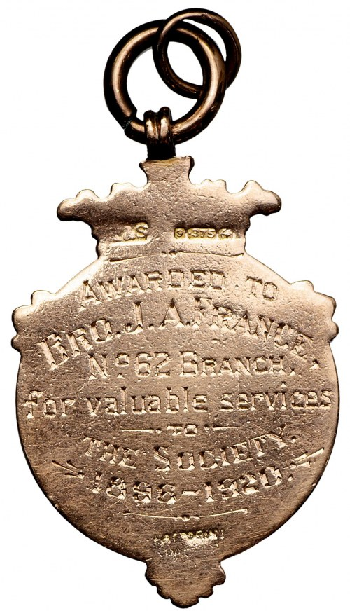 England, Award Badge of Amalgamated Society of Smiths and Strikers gold