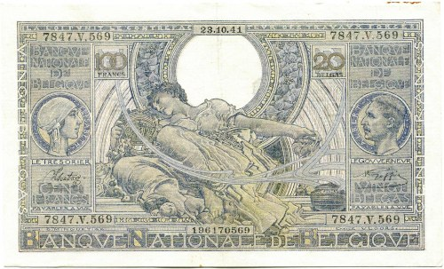 Belgium, 100 francs/20 belgas 1941