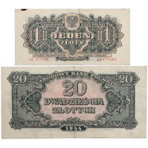 PRL, Zestaw 1 i 20 złotych 1944