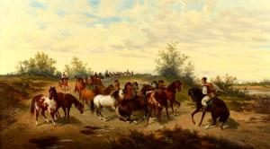 Ludwik Gędłek (1847 Kraków - 1904 Wiedeń), Konie na puszcie