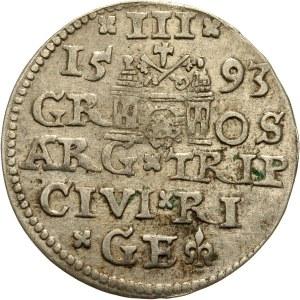 Zygmunt III Waza 1587-1632, trojak 1593, Ryga