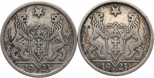Wolne Miasto Gdańsk 1920-1939, zestaw 2 sztuk - 1 gulden 1923, Utrecht, Koga