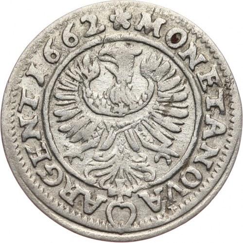 Śląsk, Księstwo Legnica-Brzeg-Wołów Ludwik IV Legnicki 1653-63, 3 krajcary 1662, Brzeg