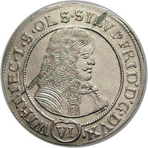 Śląsk, Księstwo Oleśnickie, Sylwiusz Fryderyk 1668-97, 6 krajcarów 1674,Oleśnica