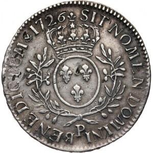 Francja, Ludwik XV Ukochany 1715-1774, Ecu 1726 P, Dijon