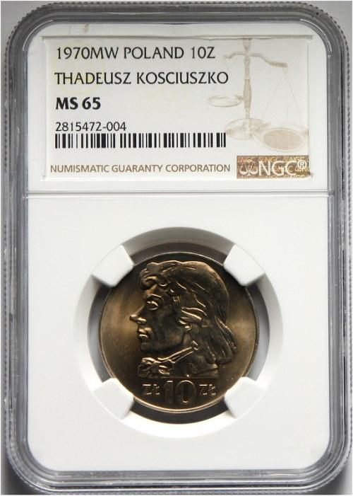 PRL, 10 złotych 1970, Kościuszko, NGC MS65.